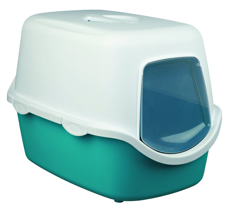 40275 Vico cat litter tray, with hood, 40 x 40 x 56 cm, turquoise/white