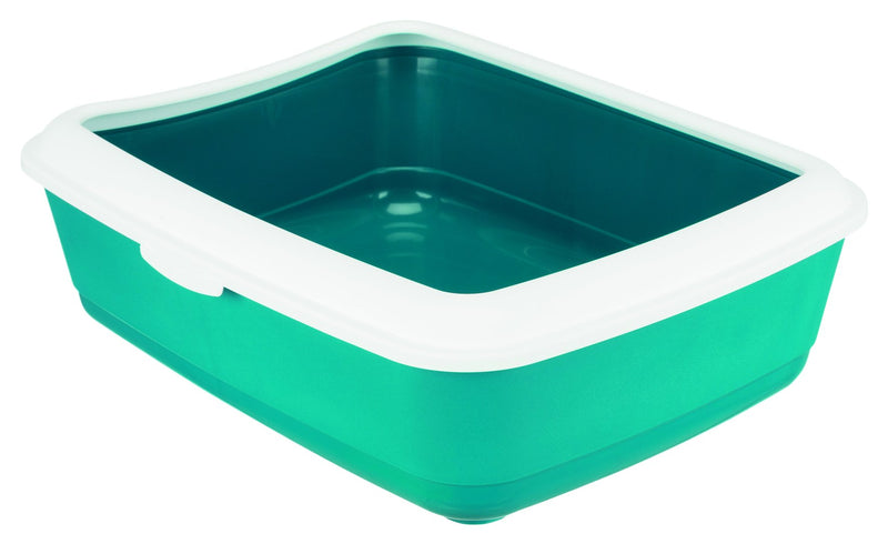 40316 Classic cat litter tray, with rim, 37 x 15 x 47 cm, petrol/white