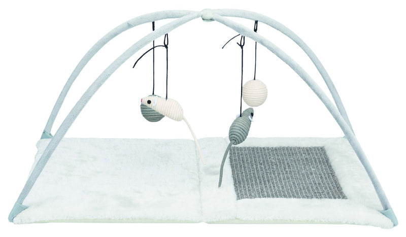 43114 Junior scratching mat with toys on string, 60 x 33 x 42 cm, grey/light grey