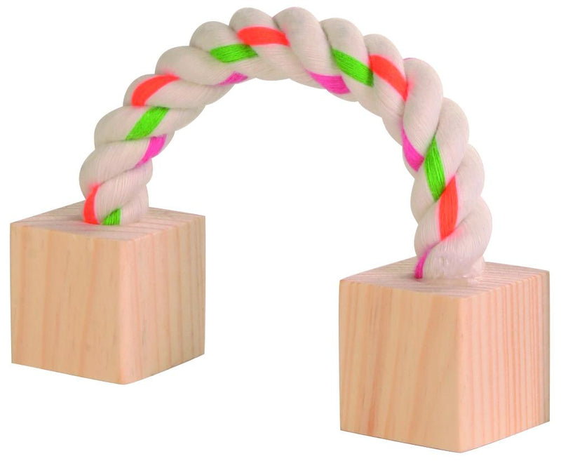 6186 Playing rope with wood for small animals, 20 cm