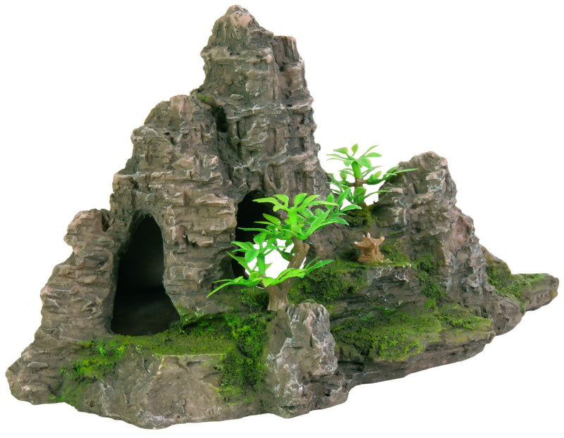 8853 Rock formation with cave/plants, 22 cm