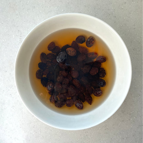 Olives soaking in a bowl