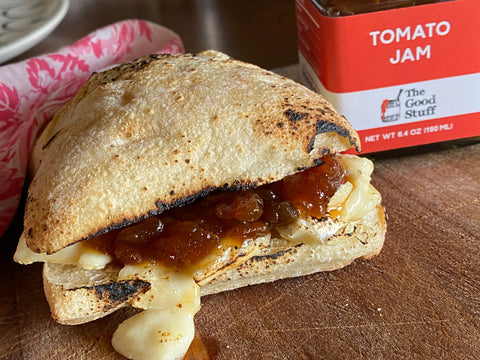 Grilled Brie with Tomato Jam from The Good Stuff Jam, Sacramento, California