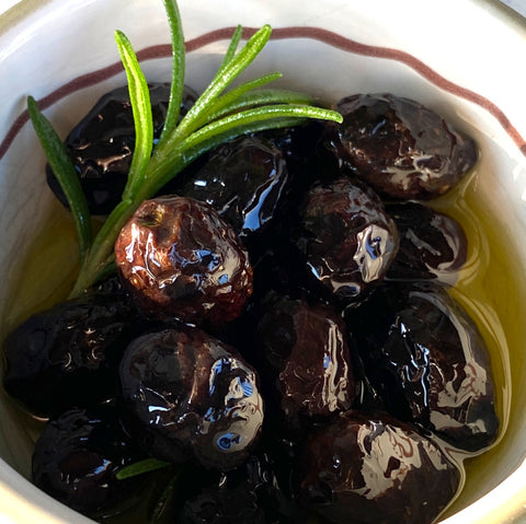 Marinated olives in a bowl