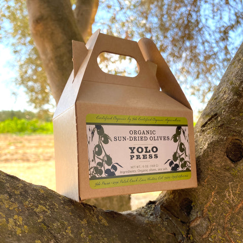Box of sun dried olives from Yolo Press