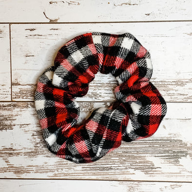 Black and Red Checks Scrunchie