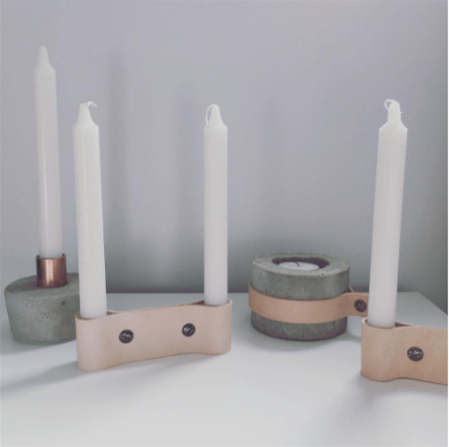 Double Leather Candlestick Holder | Blush
