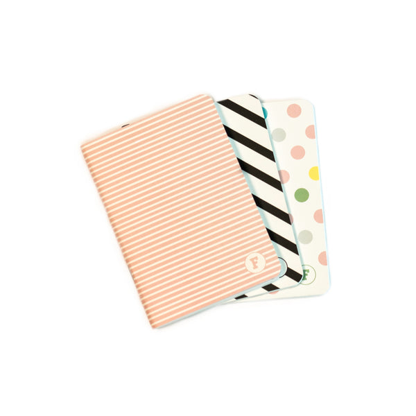 A6 Pocketbook - 3 Pack. Polka/Lines/B&W Stripes