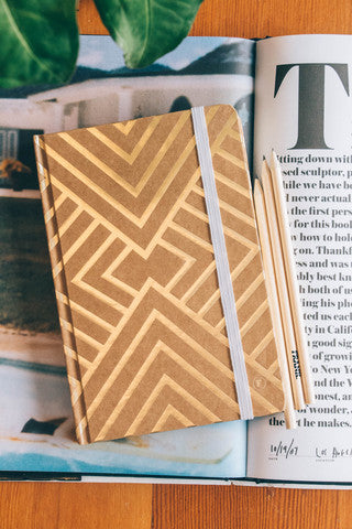 A5 Gold Geometric Hardcover Journal