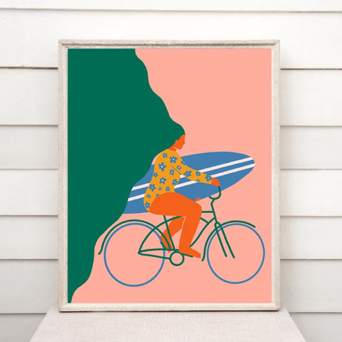 Surfer Babe with Bike Print