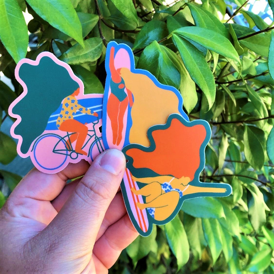 SURFER BABE weatherproof vinyl sticker pack