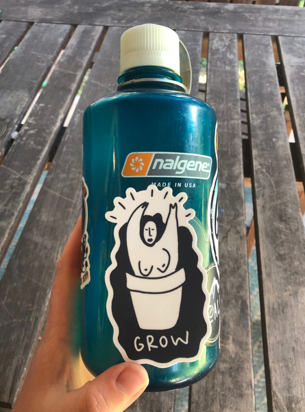 BREATHE, GROW, and Plant Head weatheproof vinyl sticker pack