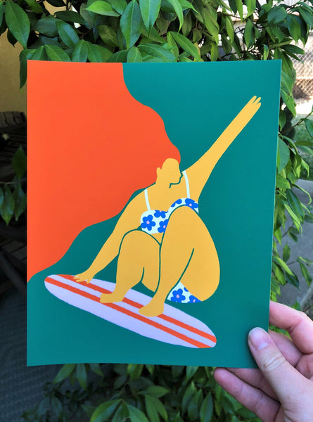 Surfer Babe Shredding Print - two color options