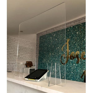Reception/Front Desk 3mm Sneeze Screen - 1000 x 700mm + Window - The Screen Company