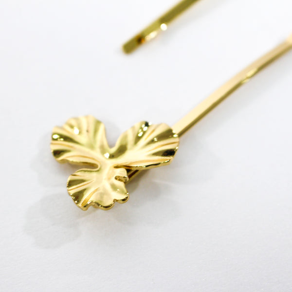 Leah Plated Brass Flower Gold Stud Hair Sliders