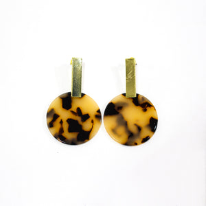 Ernestine Resin Disc Brown Earrings