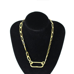 Antonia Plated Statement Belcher Chain With Lock Necklace