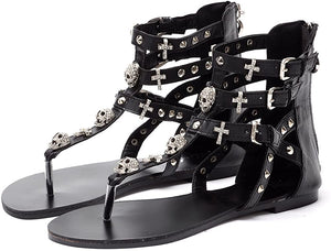 Flat Sandals for Women Summer Skull Rhinestone Gladiator Thong Dressy Sandals