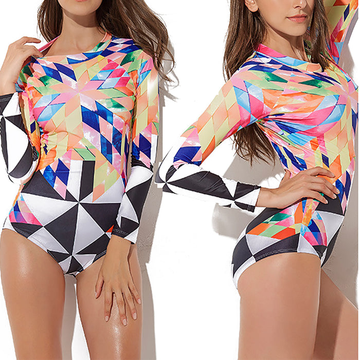 Women's One Piece Long Sleeve UV Protection Printed Swimsuit