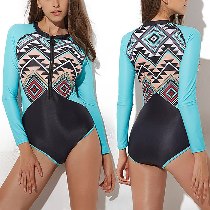 Women's One Piece Long Sleeve UV Protection Printed Swimwear