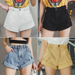 Vintage Denim High Waisted Folded Hem Jeans Shorts