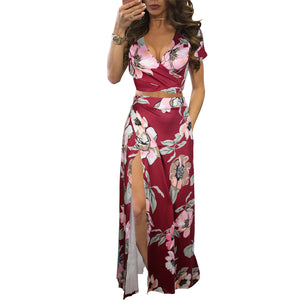 Women's Sexy V Neck Floral Printed Side Slit Two-Piece Maxi Dress