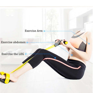 4 Resistanc Elastic Pull Ropes Exerciser Rower Belly Resistance Band