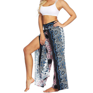 Womens Palazzo Slit Wide Leg Pants Summer Casual Beach Boho Hippie Bohemian Pilate