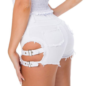 Women High Waist Hot Clubwear Denim Hollow Ripped Jeans Shorts