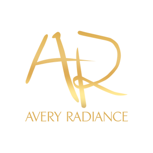 "Metallic Gold Logo - Handwritten ""AR"" over ""AVERY RADIANCE"""