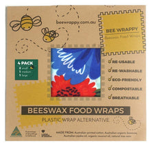 Load image into Gallery viewer, Bee Wrappy Beeswax Food Wraps Kitchen 4 Pack