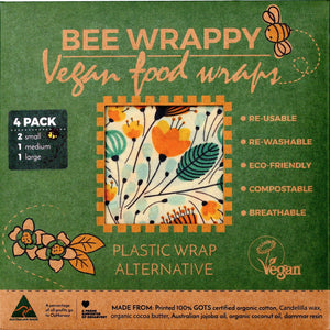 Bee Wrappy Vegan Food Wraps Kitchen 4 Pack