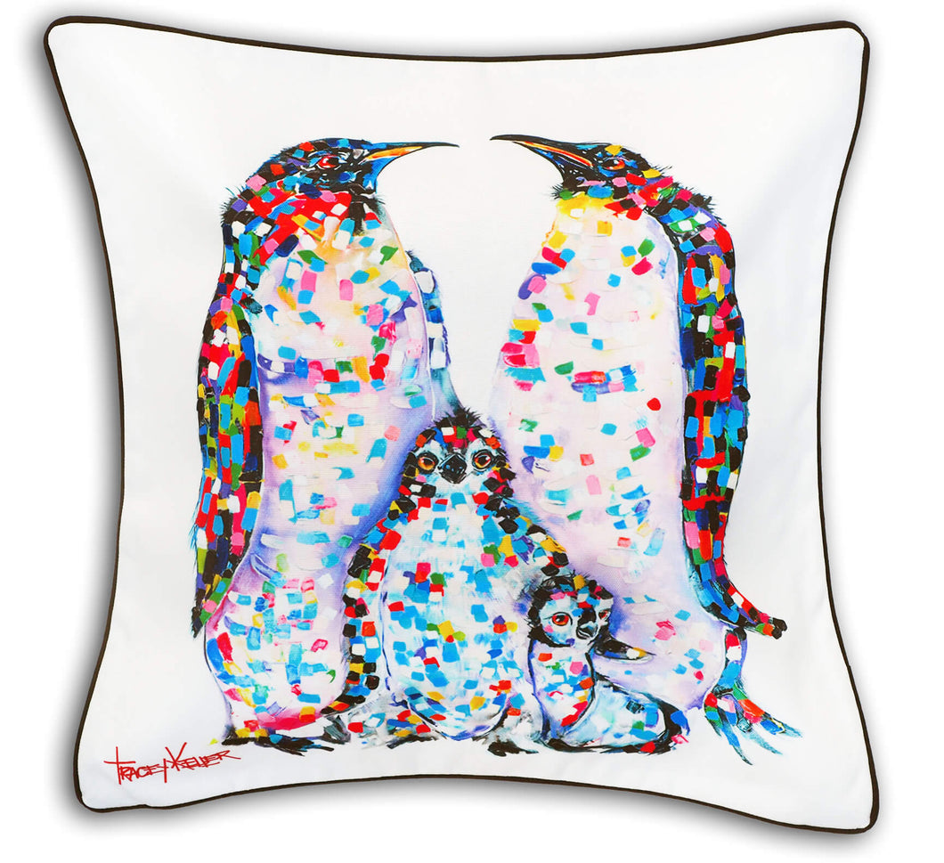 Tracey Keller Feathered Warriors Penguins Cushion Cover