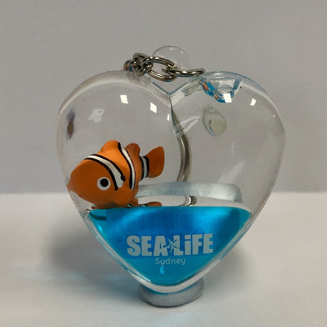 SEA LIFE Sydney Heart Shaped Keyring with Clownfish in Blue Liquid