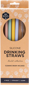 Ever Eco Silicone Straws Straight with Cleaning Brush 4 Pack