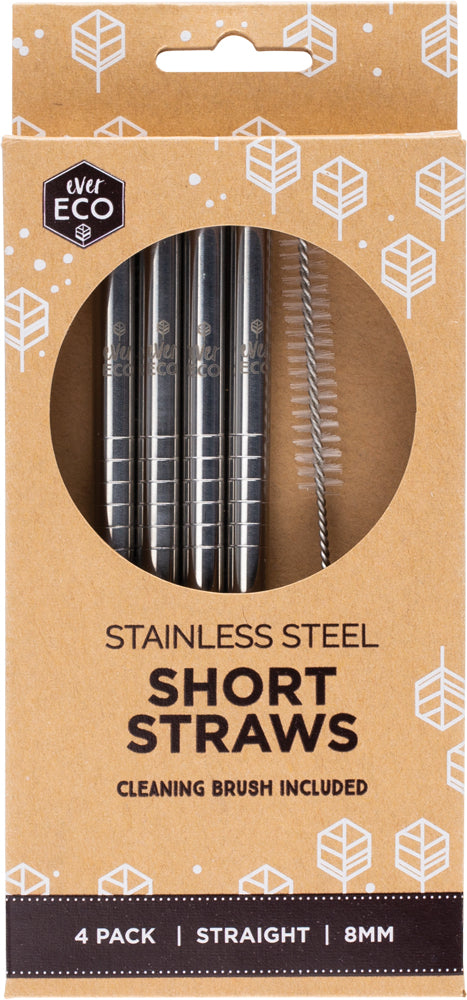 Ever Eco Stainless Steel Short Straws with Cleaning Brush 4 Pack
