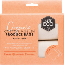 Load image into Gallery viewer, Ever Eco Reusable Produce Bags Organic Cotton Muslin 4 Pack