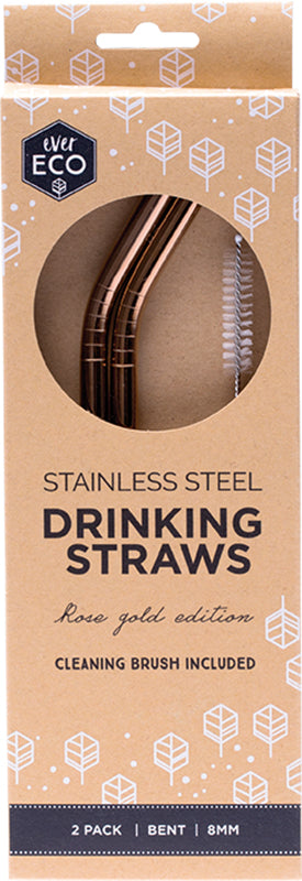 Ever Eco Stainless Steel Straws Bent with Cleaning Brush Rose Gold