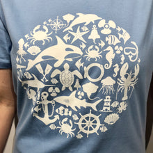 Load image into Gallery viewer, SEA LIFE Trust Montage Ladies t-shirt Sky Blue
