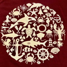 Load image into Gallery viewer, SEA LIFE Trust Montage Ladies t-shirt Maroon