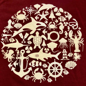 SEA LIFE Trust Montage Ladies t-shirt Maroon