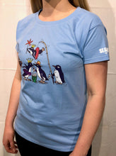 Load image into Gallery viewer, SEA LIFE Sydney Waddle of Penguins Ladies t-shirt Sky Blue