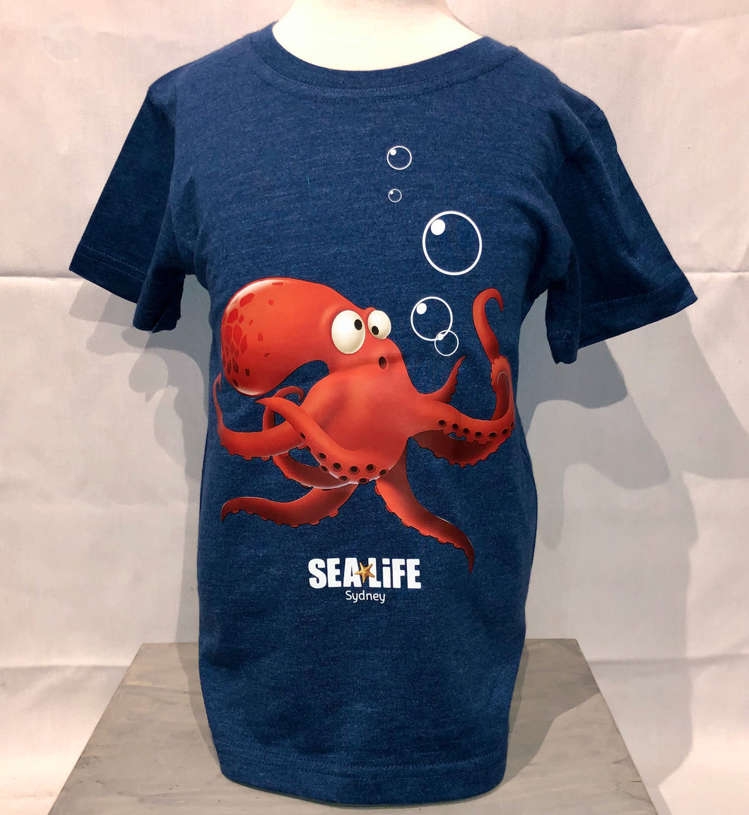 SEA LIFE Sydney Octopus Kids t-shirt Blue Marle