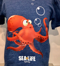 Load image into Gallery viewer, SEA LIFE Sydney Octopus Kids t-shirt Blue Marle