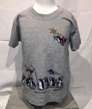 Load image into Gallery viewer, SEA LIFE Sydney Waddle of Penguins Kids t-shirt Pale Grey