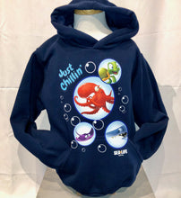 Load image into Gallery viewer, SEA LIFE Sydney Just Chillin' Kids Hoodie Navy