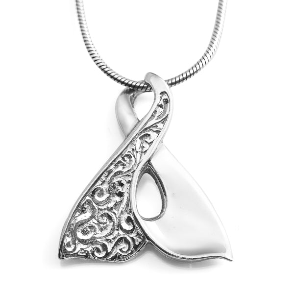 Engraved Eternity Whale Tail Necklace