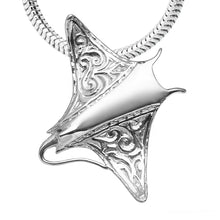 Load image into Gallery viewer, Engraved Manta Ray Necklace