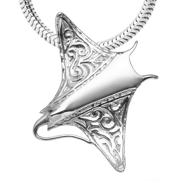 Engraved Manta Ray Necklace