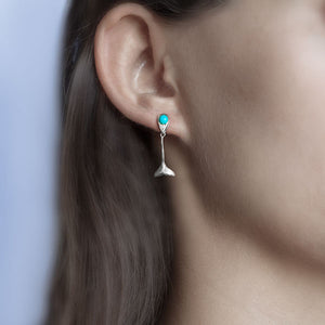 Whale Tale Fluke Drop Earrings with Turquoise